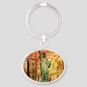 cool statue of liberty Oval Keychain