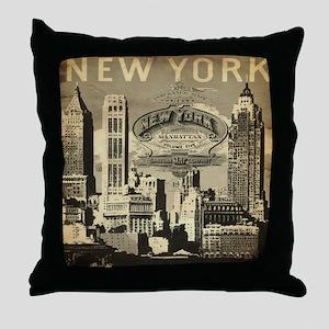 Vintage USA New York Throw Pillow
