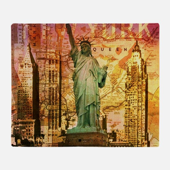 cool statue of liberty Throw Blanket