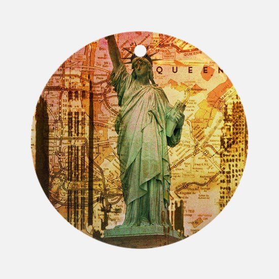 cool statue of liberty Round Ornament