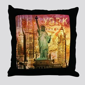 cool statue of liberty Throw Pillow