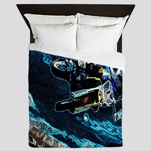 grunge cool motorcycle racer Queen Duvet