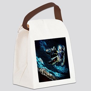 grunge cool motorcycle racer Canvas Lunch Bag