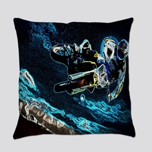 grunge cool motorcycle racer Everyday Pillow