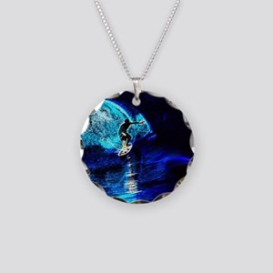 beach blue waves surfer Necklace Circle Charm