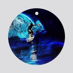 beach blue waves surfer Round Ornament
