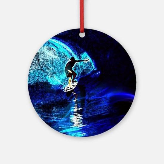beach blue waves surfer Round Ornament