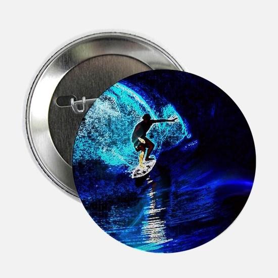 "beach blue waves surfer 2.25"" Button"