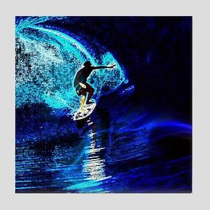 beach blue waves surfer Tile Coaster