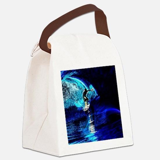 beach blue waves surfer Canvas Lunch Bag
