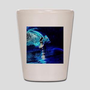 beach blue waves surfer Shot Glass