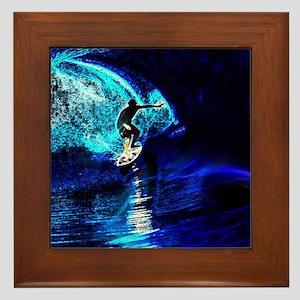 beach blue waves surfer Framed Tile