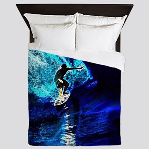 beach blue waves surfer Queen Duvet
