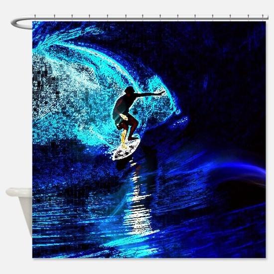 beach blue waves surfer Shower Curtain