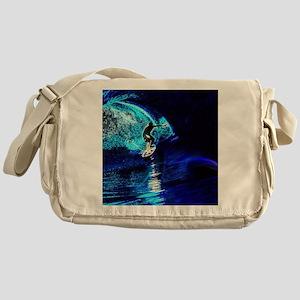 beach blue waves surfer Messenger Bag