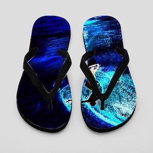 beach blue waves surfer Flip Flops