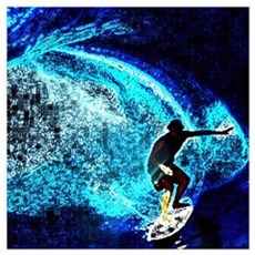 beach blue waves surfer Poster
