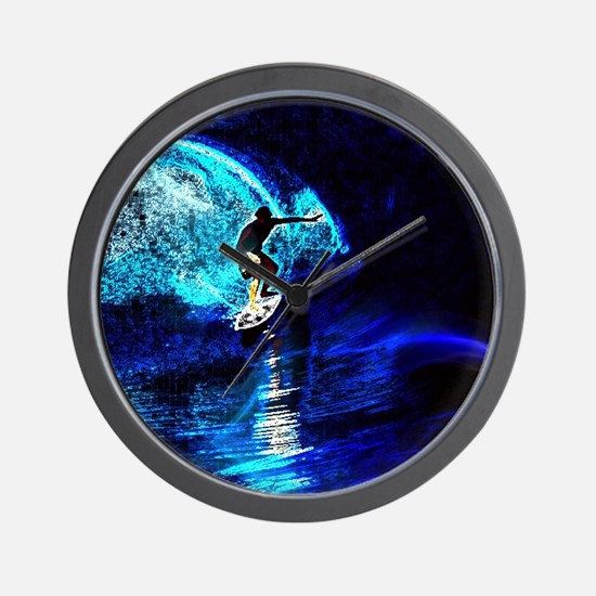 beach blue waves surfer Wall Clock