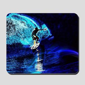 beach blue waves surfer Mousepad