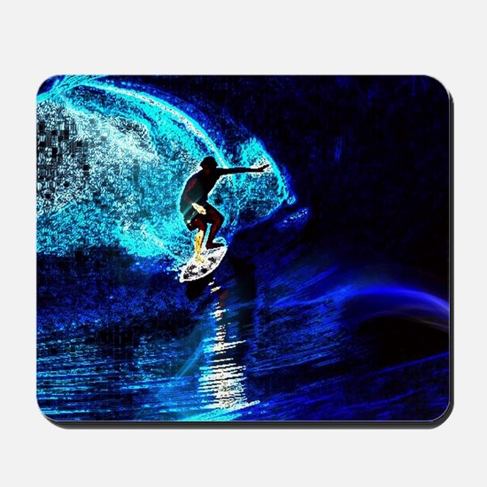 beach blue waves surfer Mousepad