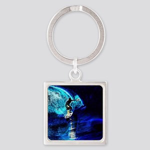 beach blue waves surfer Square Keychain