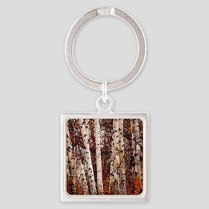 fall landscape birch tree Square Keychain