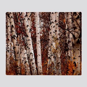 fall landscape birch tree Throw Blanket
