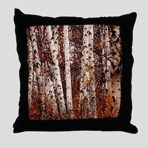 fall landscape birch tree Throw Pillow