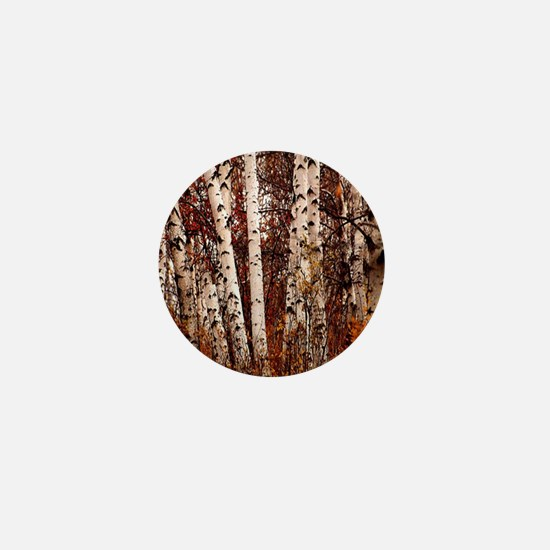 fall landscape birch tree Mini Button