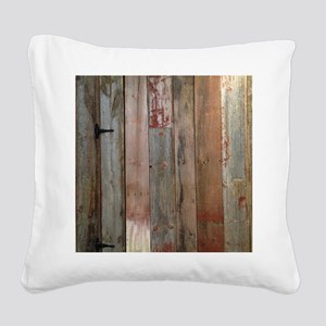 rustic western barn wood Square Canvas Pillow