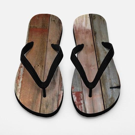 rustic western barn wood Flip Flops