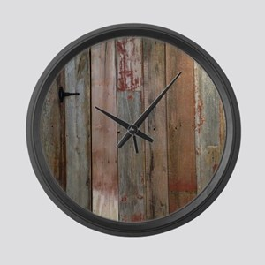 rustic western barn wood Large Wall Clock