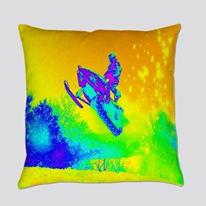 modern winter snowmobile Everyday Pillow