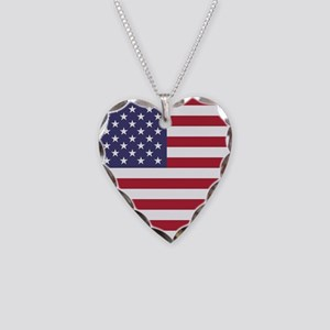 USA flag authentic version Necklace Heart Charm