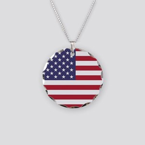 USA flag authentic version Necklace Circle Charm
