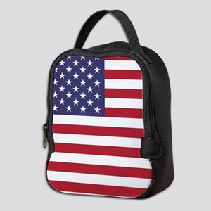 USA flag authentic version Neoprene Lunch Bag