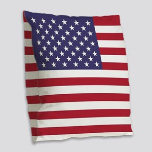 USA flag authentic version Burlap Throw Pillow