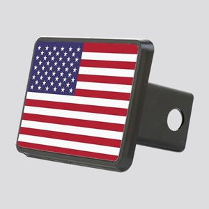 USA flag authentic version Rectangular Hitch Cover