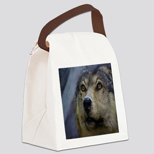 Brown wolf Canvas Lunch Bag