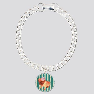 retro stripes girly pug Charm Bracelet, One Charm