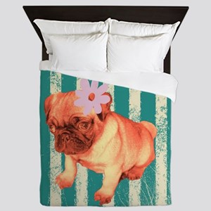 retro stripes girly pug Queen Duvet