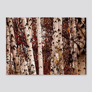 fall landscape birch tree 5'x7'Area Rug