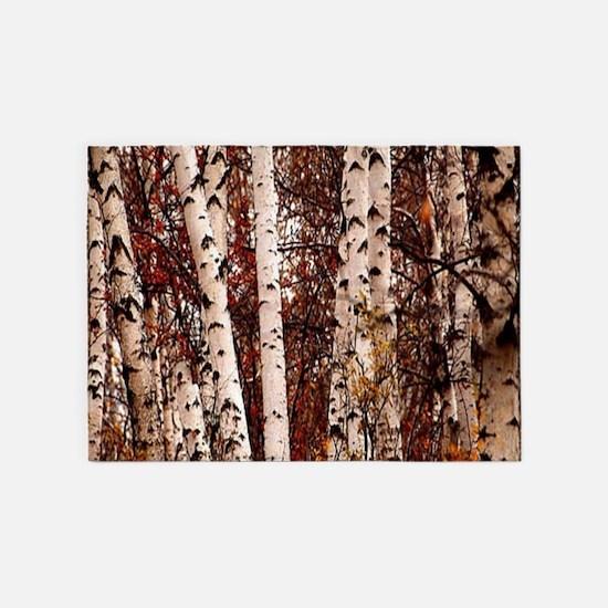 fall landscape birch tree 5'x7'Area Rug