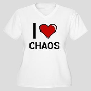 I love Chaos Digitial Design Plus Size T-Shirt