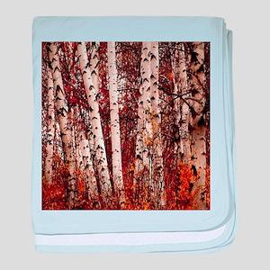 fall landscape birch tree baby blanket