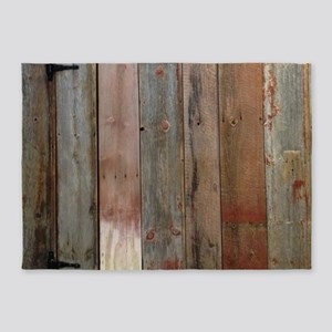 rustic western barn wood 5'x7'Area Rug