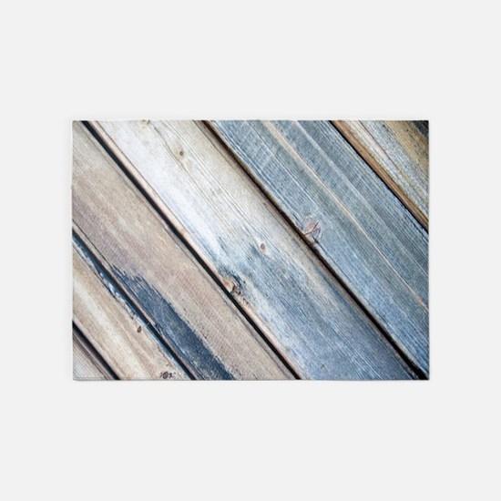 rustic primitive grey barn wood 5'x7'Area Rug