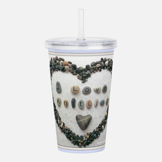 I Love Knitting with H Acrylic Double-wall Tumbler