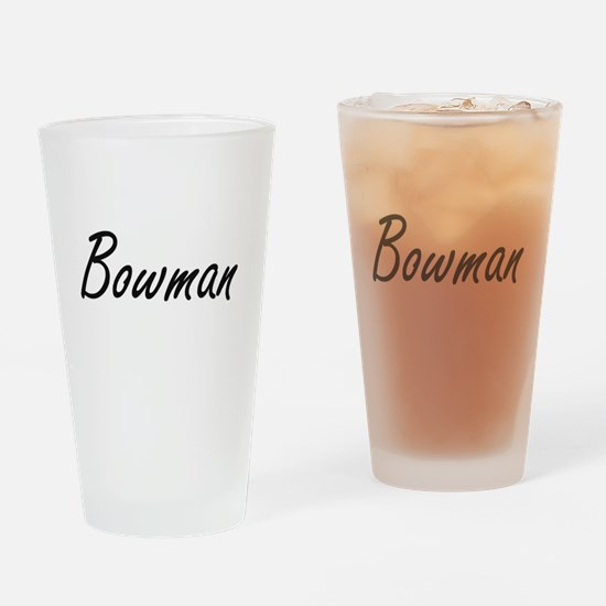 Bowman surname artistic design Drinking Glass