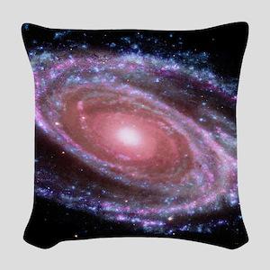 Pink Spiral Galaxy Woven Throw Pillow